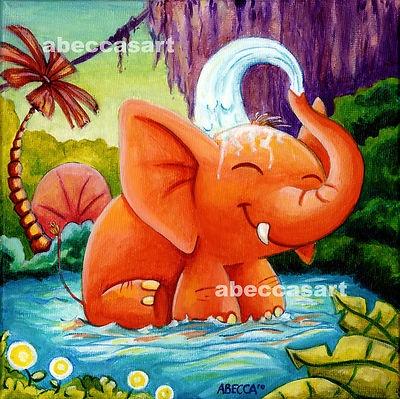 Rebecca McIntyre Abecca's Art Playful Elephant.