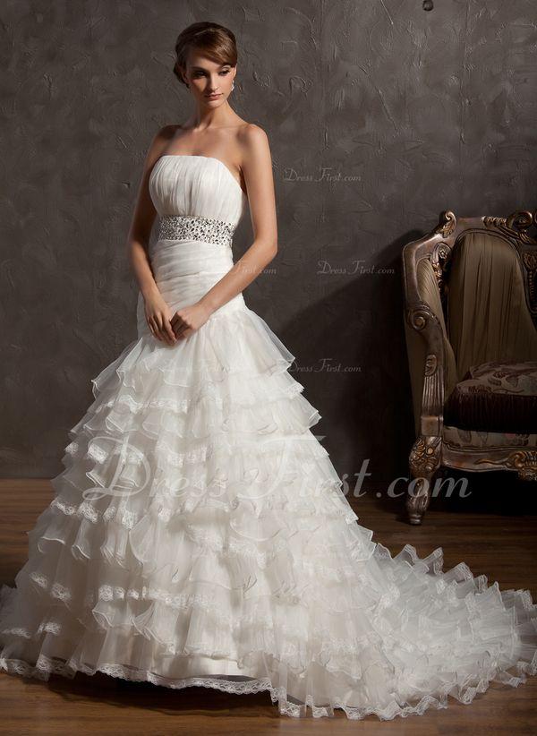 Plesové Bez ramínek Kostelní vlečka Organza Svatební šaty S Volán Zdobení korálky (002012734) - DressFirst