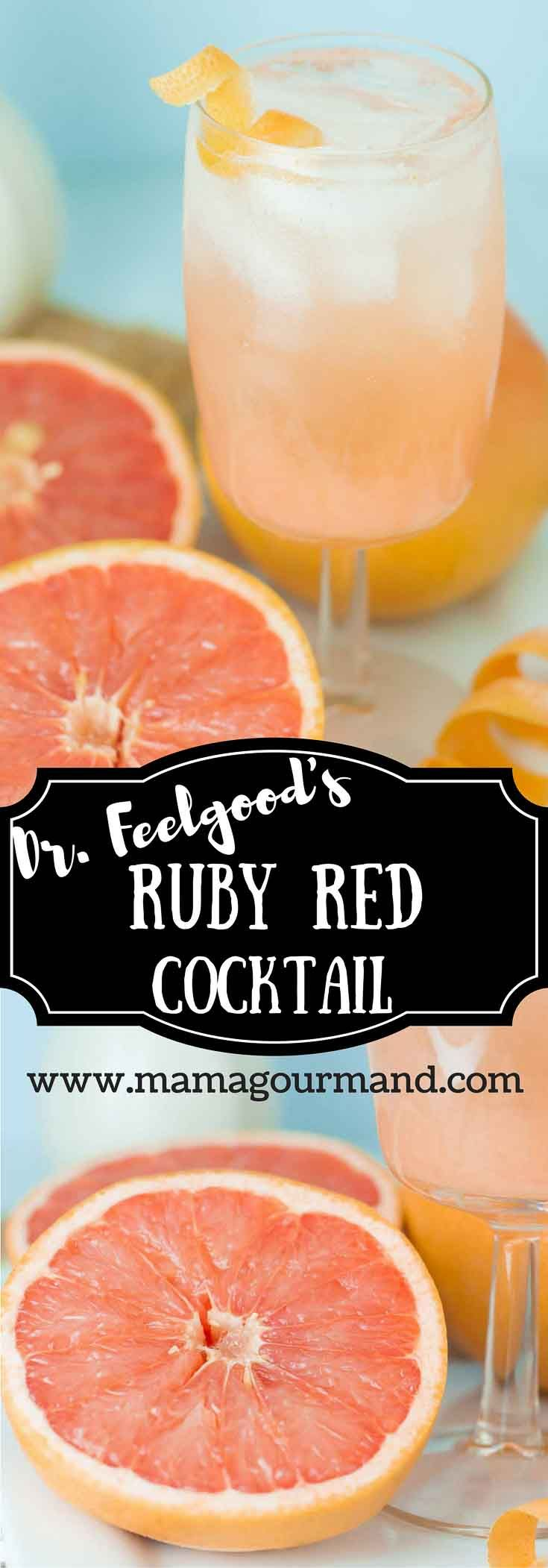 Dr. Feelgood's Grapefruit Cocktail combines fresh ruby red grapefruit juice, tangy grapefruit vodka, and sparkling ginger ale. http://www.mamagourmand.com via @mamagourmand