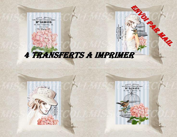 """4 images digitales pour transfert à imprimer """"mademoiselle anita d'amour"""" envoi par mail : Loisirs créatifs, scrapbooking par miss-coopecoll"""