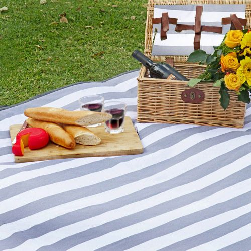 Grey and White Stripe Picnic Blanket