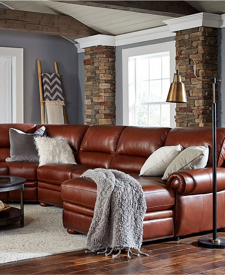 Royce Leather Sectional Sofa Living Room Furniture