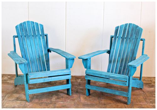 Distressed Turquoise Adirondack Chairs Perfect For