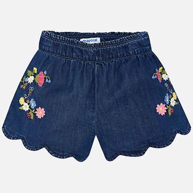 Lightweight and pretty, these blue shorts by Mayoral have embroidered flowers and bees at the sides. Made in soft chambray denim, with a zip fastening and  an adjustable, elasticated waist to ensure a perfect fit.