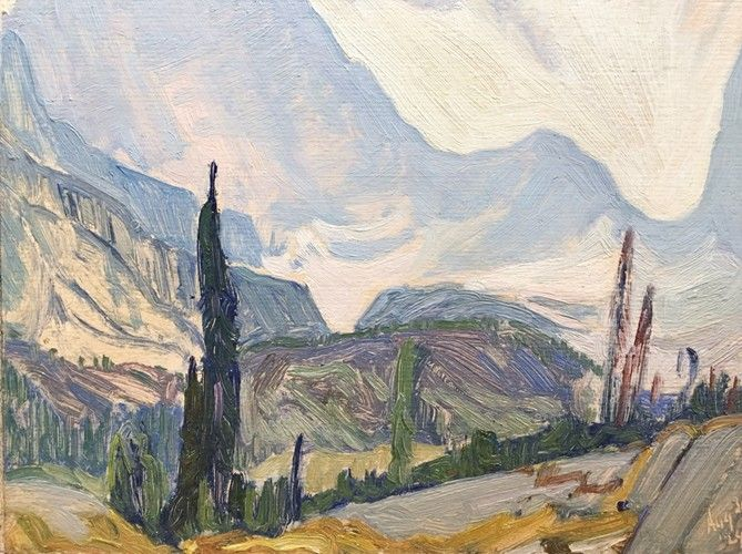J.E.H. MacDonald - Mount Odaray August 31st 1924 8.5 x 10.5 Oil on panel