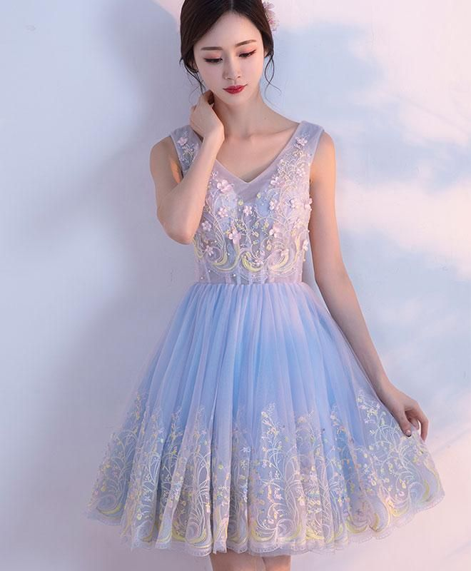 a446cce8e34f Cute light blue tulle prom dress, v neck homecoming dress, short prom dress  for