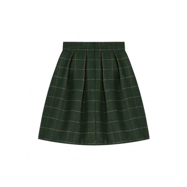 Plaid Mid-rise Midi Woolen Skirt ($20) ❤ liked on Polyvore featuring skirts, blackfive, calf length skirts, wool midi skirt, tartan midi skirt, tartan plaid skirt and midi skirt