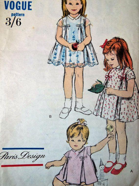 Vintage 1950s Vogue 5955 Baby Girls Dress Jam by FoxVintageUk