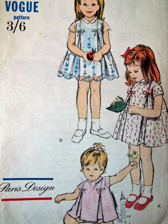 Vintage 1950s Vogue 5955 Baby Girls Dress Jam by FoxVintageUk