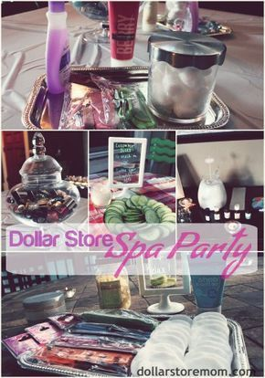 AWESOME idea! Great for a mommy get-together, teen or tween party, or just a couple friends... dollar store spa party