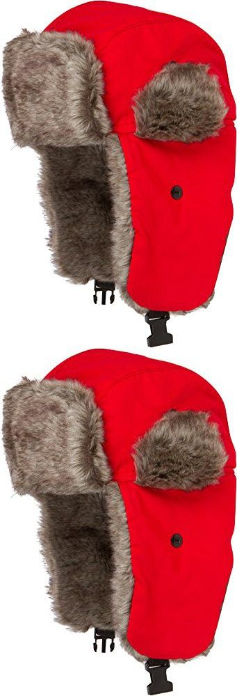 JAFurNylon71891J Sakkas Unisex Weatherproof Nylon Faux Fur Lined Trooper Hat - Red