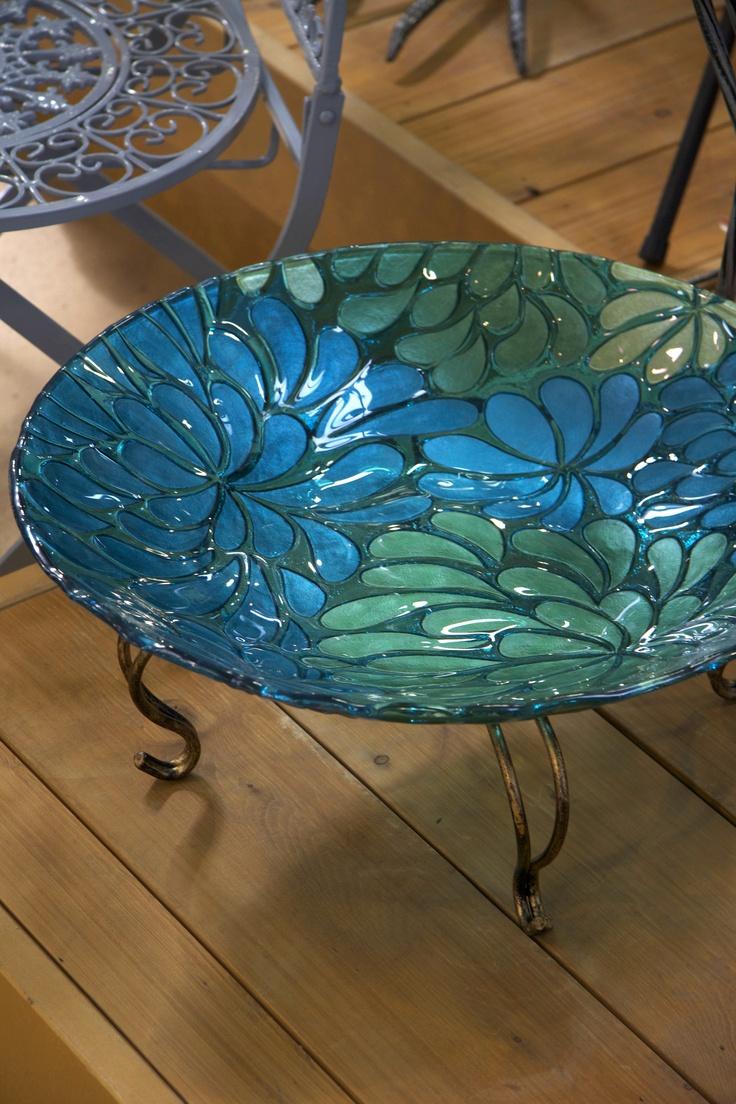 Blue Glass Birdbath