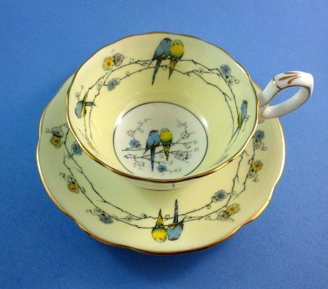 Rare Star Mark Love Birds Painted Paragon Tea Cup and Saucer Set