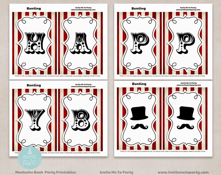 Little Man Happy Birthday Bunting  Invite Me To Party: Mustache Bash Party / Little Man Party
