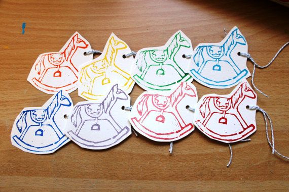 Handmade rocking horse gift tags  set of 8 by Yoliprints on Etsy