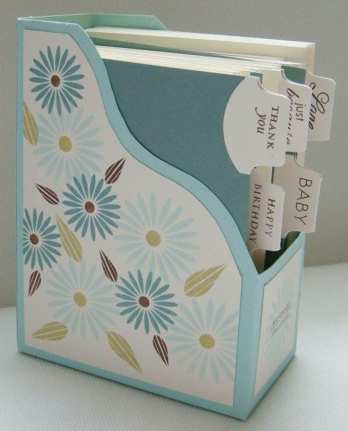 """Organize cards - this could totally be done with an """"upcycled"""" box! Love it!"""