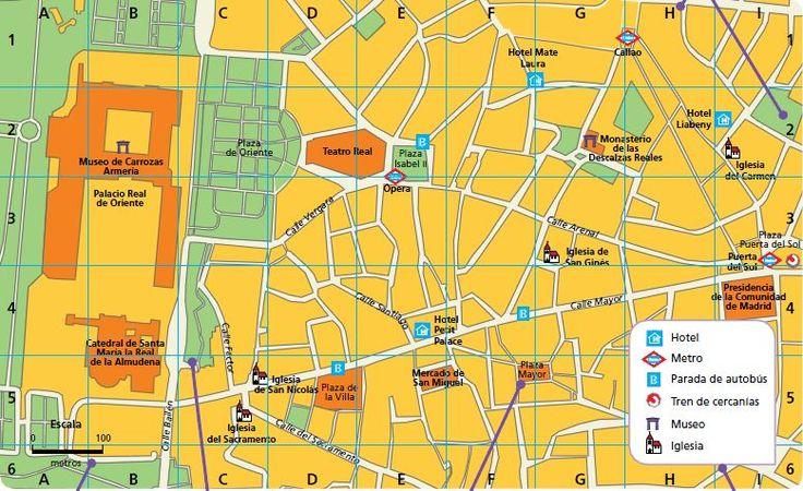 ¿Sabes interpretar un plano?  Localiza las cuadrículas D2 y B4. ¿Qué edificios destacados hay en esas zonas? ¿Qué símbolos recoge la leyenda? ¿Cuáles otros añadirías tú? ¿En qué calles o plazas puedes encontrar una parada de autobús? Si quisieras ir desde la plaza Mayor hasta la plaza Puerta del Sol, ¿qué itinerario elegirías? Descríbelo.