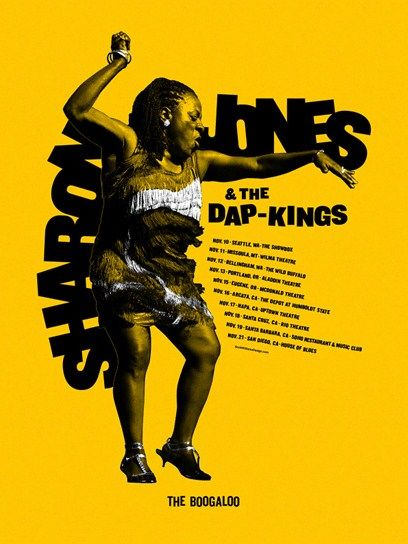 "SHARON JONES & THE DAP-KINGS POSTER Official Tour Poster #2 for Fall 2011 2 color silk screen poster on yellow paper 19"" x 25̶..."