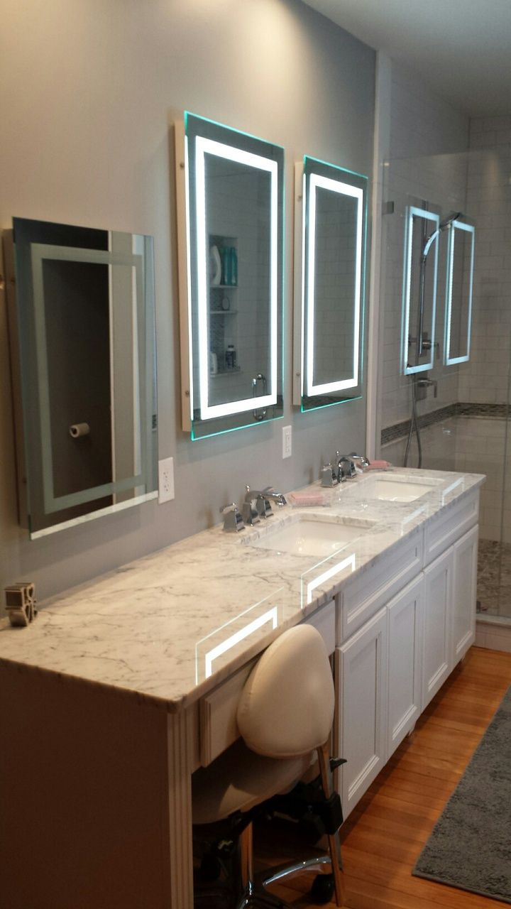 fantastic bathroom remodel show casing our led bordered illuminated mirrors both small and large - Bathroom Remodel Mirrors