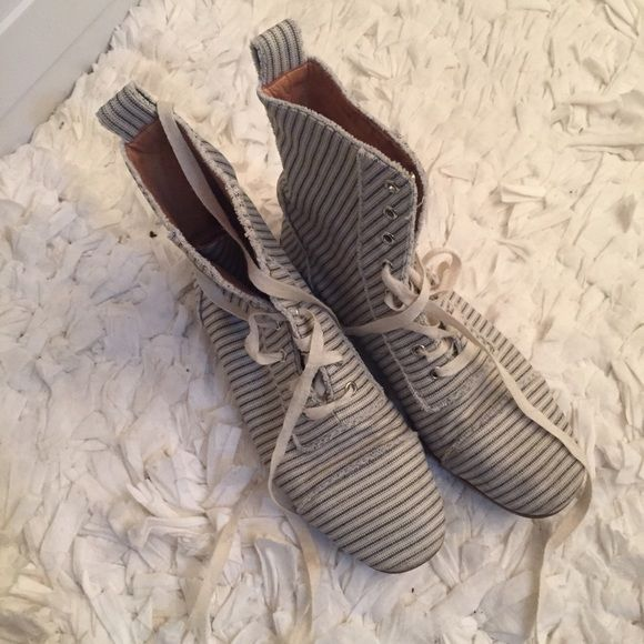 Marc Jacobs Nautical Ankle Boots White with blue stripe ankle boots. Canvas Lace up, soft leather lined. Marc by Marc Jacobs - on other sites for $99+ defects in pictures. Marc by Marc Jacobs Shoes Ankle Boots & Booties