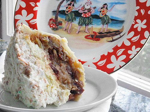 """Mele Kalikimaka Pie -- """"Like the song, the pie is a delicious abomination of traditional holiday ingredients and Hawaiian favorites. Apples, brown sugar and cinnamon meet macadamia nuts, pineapple and coconut. And cream cheese. And IT WORKS! Aloha, Hula-Hips!"""""""
