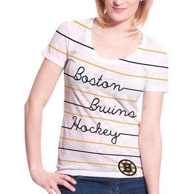 Levelwear Boston Bruins Women's White Eat Play Love V-Neck T-Shirt