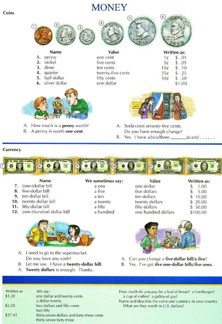 62 - MONEY - Pictures dictionary - English Study, explanations, free exercises, speaking, listening, grammar lessons, reading, writing, vocabulary, dictionary and teaching materials