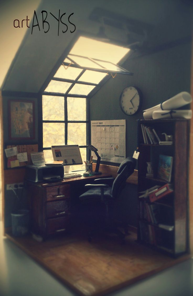 #office#room#workplace#miniature#hademade#art