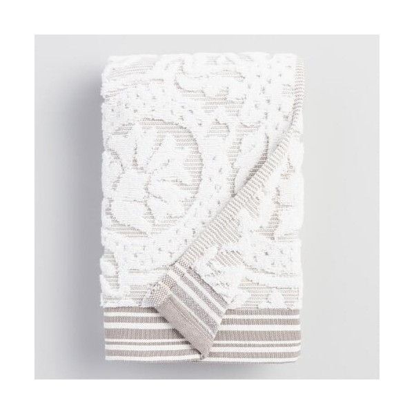 cotton hand towels for bathroom. with an art-deco design and a striped border, this ivory taupe hand towel adds sophistication to your bathroom. made of cotton, it always feels soft cotton towels for bathroom