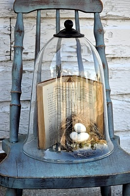 artfully folded book & nest with eggs under cloche