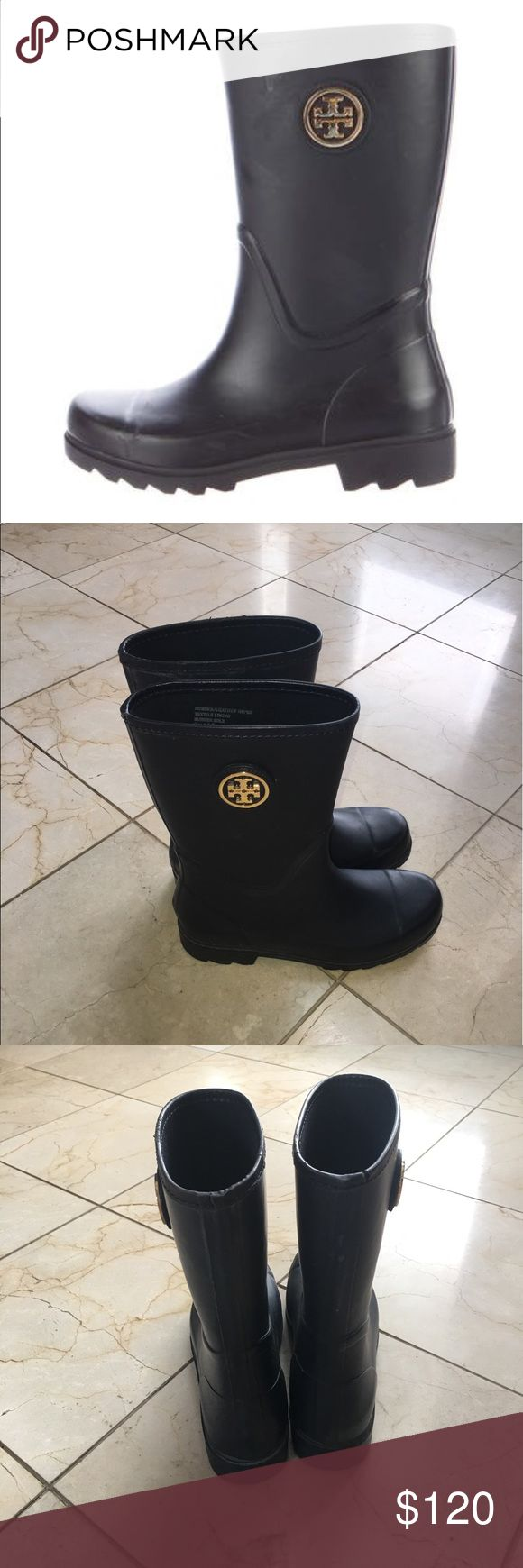 TORY BURCH - Navy Mid Calf Rain Boots LOVE these rain boots!! Very comfy and stylish rain boots. Comes in original box. Looks great when styled with socks or without. Gently worn with tiny scuff marks on toe and heel as pictured. It's hard to let these go but I just got a new pair and no longer need these. Tory Burch Shoes Winter & Rain Boots