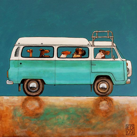 094 CAMPING FRIENDS - Signed and numbered print of dogs in a volkswagen camper T2 model. $18.00, via Etsy.