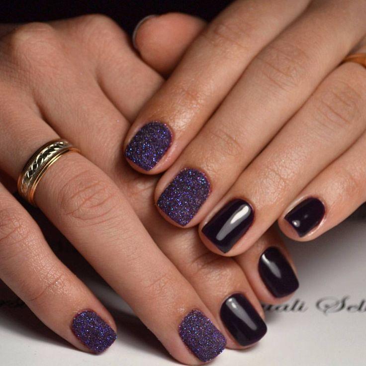 Сахарные темно-фиолетовые ногти - Modnail.ru - Красивый маникюр