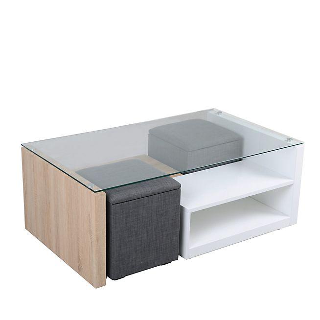 Vivo Table basse avec 2 niches de rangement et 2 poufs coffre