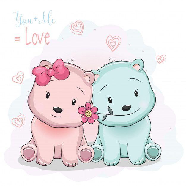 Two Cute Cartoon Bears Boy And Girl On Love Background Cute Cartoon Cute Cartoon Drawings Bear Cartoon