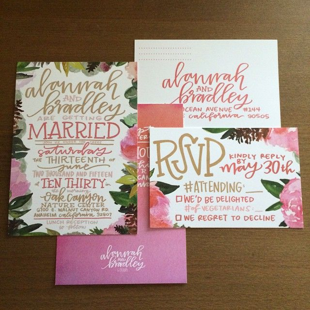 Sometimes your cousin asks you to do some quick wedding invites for her so you just throw a bunch of @tjhalfpint paintings together and scan your lettering because she seems like she might be into that sort of thing, and perhaps you end up creating the most #laurenish wedding invitations ever #laurenishdesign
