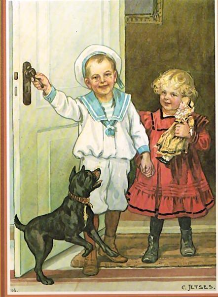 """""""Pim en Mien"""", illustration by Cornelis Jetses"""