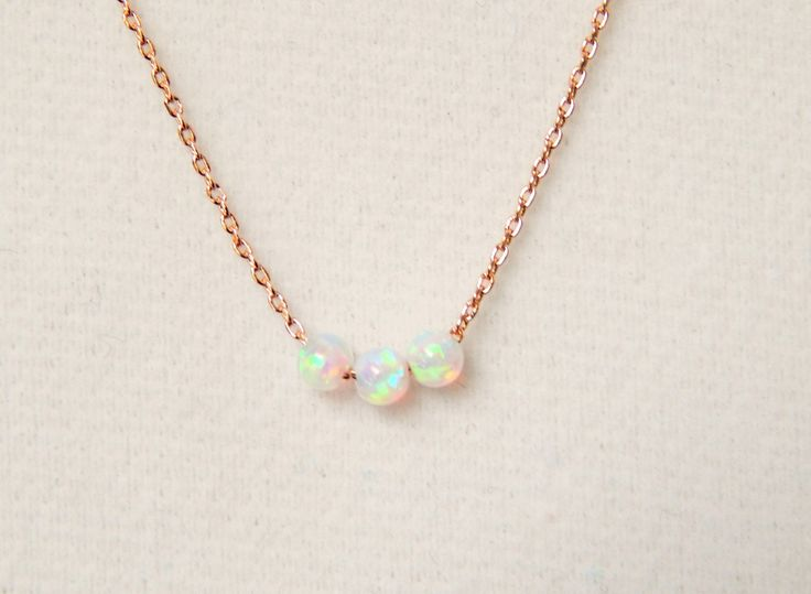 Rose Gold and White Opal Necklace                                                                                                                                                                                 More
