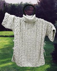 Free knitting pattern: Aran Knit Poncho