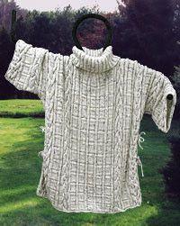 Free knitting pattern: Aran Knit Poncho