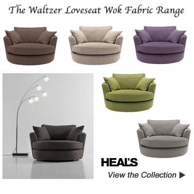 Swivel Love Seat Cuddle Chairs in Green Brown Charcoal Grey Natural Grape