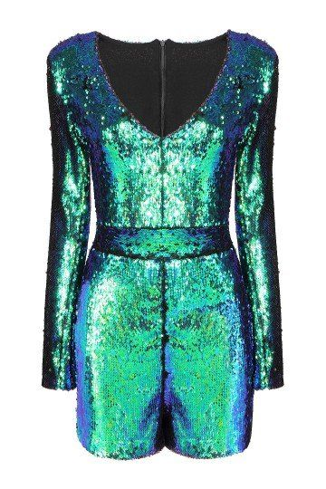 Glam Rock Green Playsuit with Sequin Detail.