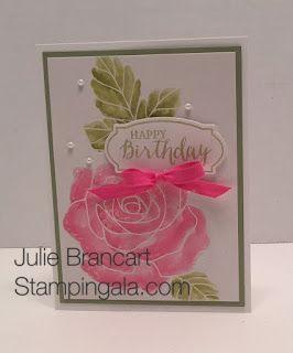 Julie Brancart, www.stampingala.com Stampin Up's Rose Wonder stamp set and Framelits visit my blog for details.