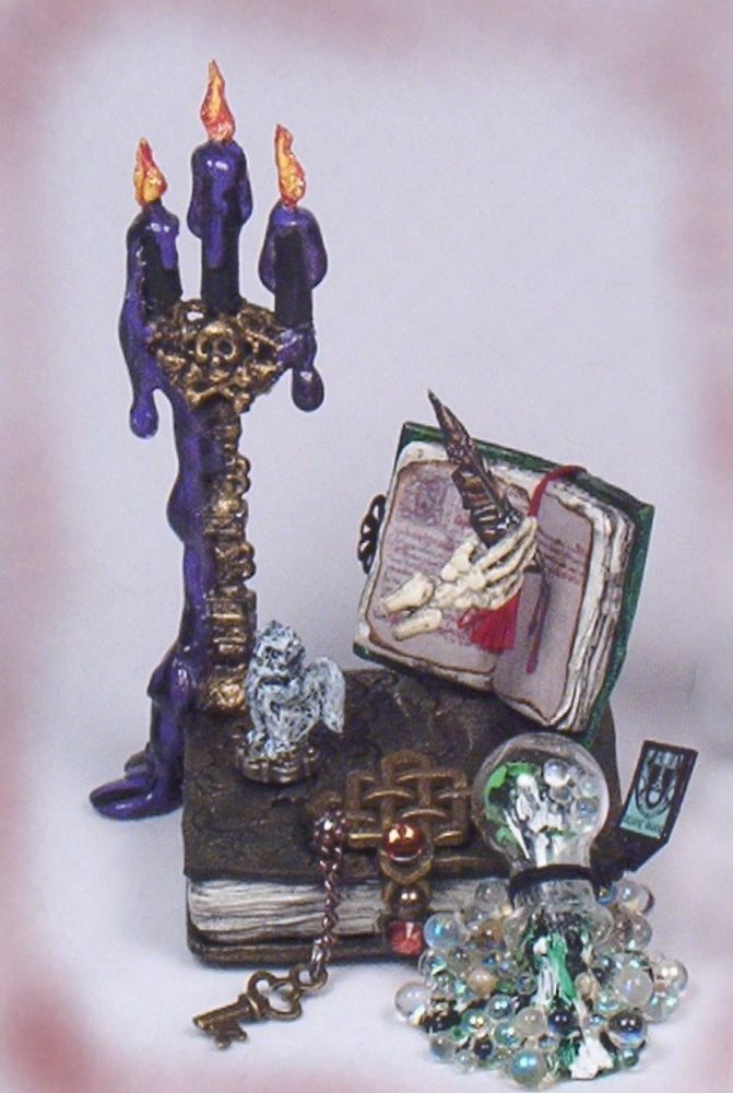 haunted witch spell book candelabra halloween doll house miniature ooak passion - Miniature Halloween Decorations