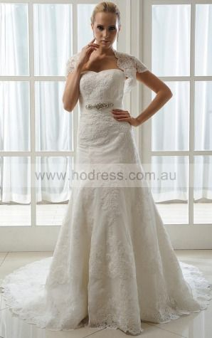 Sleeveless Lace-up Lace Sweetheart A-line Wedding Dresses ghcf1015--Hodress