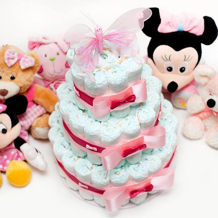 Tort z pieluch dla dziewczynki