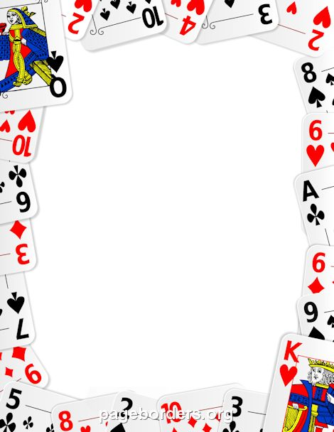 Printable playing card border. Use the border in Microsoft Word or other programs for creating flyers, invitations, and other printables. Free GIF, JPG, PDF, and PNG downloads at http://pageborders.org/download/playing-card-border/
