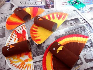 Thanksgiving Turkey craft for kids- paper plates + TP roll + paint.