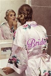 Personalised Floral Satin robe, pretty Pearl Pink colour! Perfect for the wedding morning preparations. Available at WowWee.ie