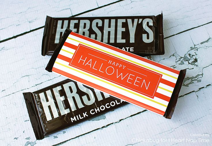 Free printable Halloween candy bar labels  http://www.iheartnaptime.net/halloween-candy-bar-wrappers/